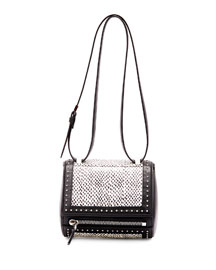 Pandora Box Mini Snakeskin Shoulder Bag, Black/White