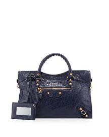 Giant 12 City Lambskin Satchel Bag, Dark Blue