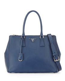 City Calfskin Bicolor Double-Zip Galleria Tote Bag, Dark Blue/Green (Bluette+Assenzio)