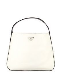 Vitello Daino Medium Bicolor Wide-Strap Hobo Bag, White/Black/Yellow (Talco+Nero)