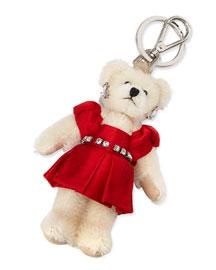 Teddy Bear Charm for Handbag w/Red Dress, Red (Fuoco)