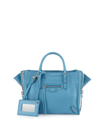Papier A4 Mini Leather Tote Bag, Bright Blue
