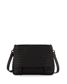 Intrecciato Medium Flap-Tab Bag, Black