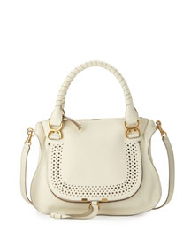 Marcie Medium Perforated Satchel Bag, White
