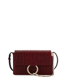 Faye Small Crocodile-Stamped Shoulder Bag, Dark Red