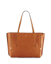 Isa Calfskin Shopper Tote Bag, Caramel