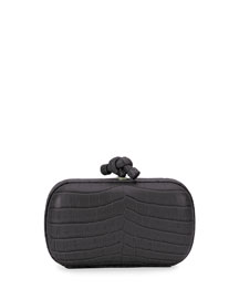 Knot Crocodile Clutch Bag, Black