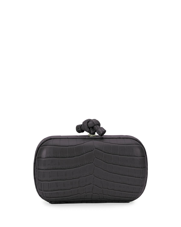 Bottega Veneta Knot Crocodile Clutch Bag, Black
