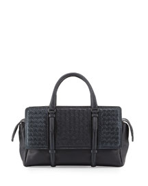 Monaco Snakeskin Satchel Bag, Navy