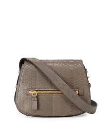 Jennifer Medium Python Shoulder Bag, Dark Gray