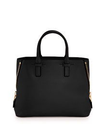 Jennifer Small Trap Leather Tote Bag, Black