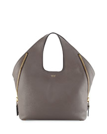 Jennifer Side-Zip Medium Leather Hobo Bag, Dark Gray