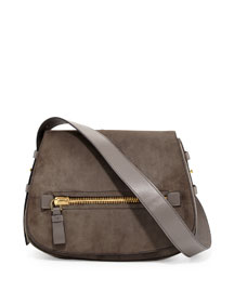 Jennifer Medium Suede Shoulder Bag, Dark Gray