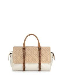 Monaco Medium Intreccio Top-Handle Bag, Tricolor