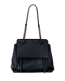 Intrecciato Large Flap Satchel Bag, Navy