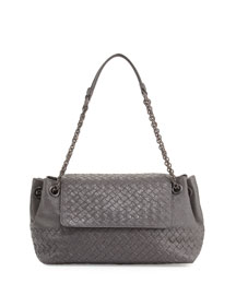 Small Madras Intrecciato Flap Shoulder Bag, Gray