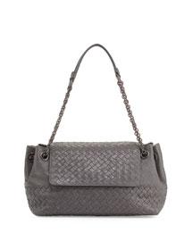 Small Madras Intrecciato Flap Shoulder Bag, Gray