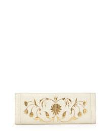 Crocodile Woven Slicer Clutch Bag, Cream/Gold