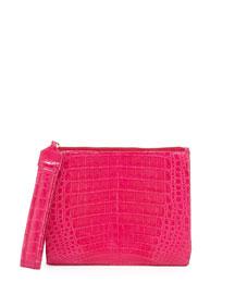 Crocodile Zip-Top Wristlet Bag, Pink
