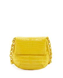 Crocodile Chain-Strap Saddle Bag, Yellow