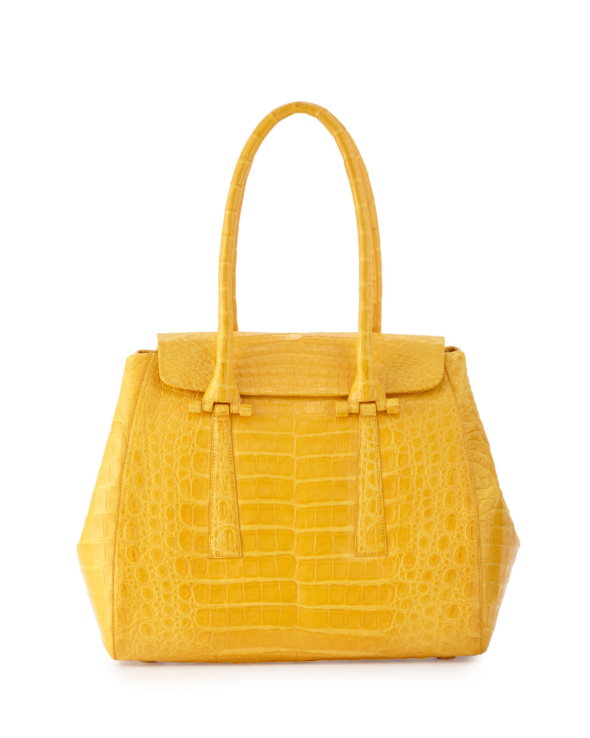 Nancy Gonzalez Crocodile Small Flap Tote Bag, Yellow Matte, Size: S