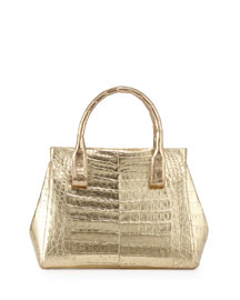 Daisy Small Crocodile Bag, Soft Gold Mirror