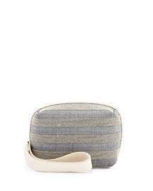 Monili Striped Cube Wristlet Bag, Gray