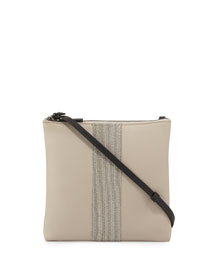 Calfskin Messenger Bag w/Monili Stripe, Light Gray