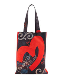 Hand-Painted Small Tote Bag, Black