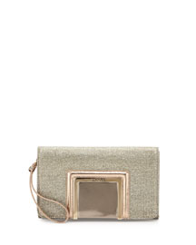 Alara Glitter Lam� Clutch Bag, Light Bronze