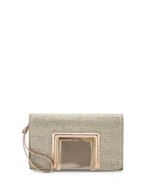 Alara Glitter Lam� Clutch Bag, Light Bronze