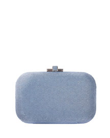 Crystal Slide-Lock Clutch Bag, Silver Blue Opal