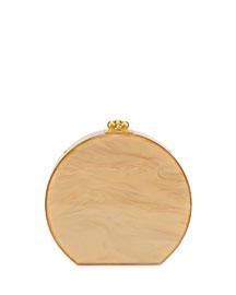 Oscar Half-Moon Acrylic Clutch Bag, Gold Pearlescent