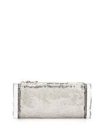 Lara Mesh Ice Clutch Bag, Silver