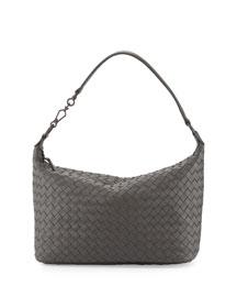 Small Intrecciato Shoulder Bag, Light Gray