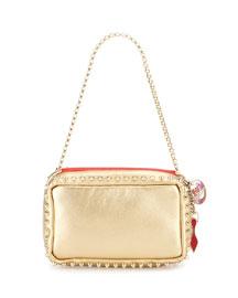 Piloutin Metallic Napa Chain Pochette Bag, Gold