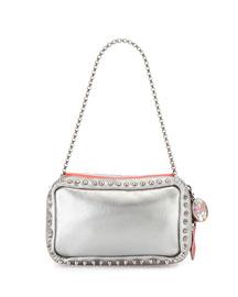 Piloutin Metallic Napa Chain Pochette Bag, Gunmetal