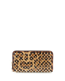 Panettone Spiked Leopard-Print Zip Wallet