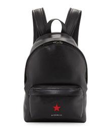 Calfskin Star Backpack, Black/Red