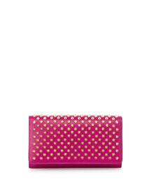 Macaron Spiked Flap Wallet, Fuchsia