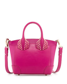 Eloise Small Leather Tote Bag, Fuchsia