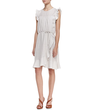 Sleeveless Ruffled Tie-Waist Dress
