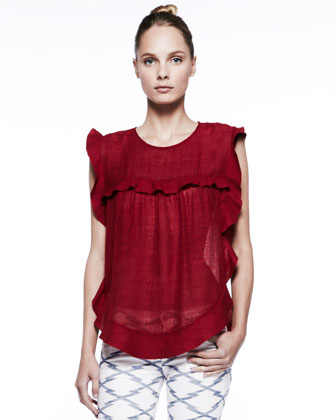 Sonia Ruffle-Detail Silk Top