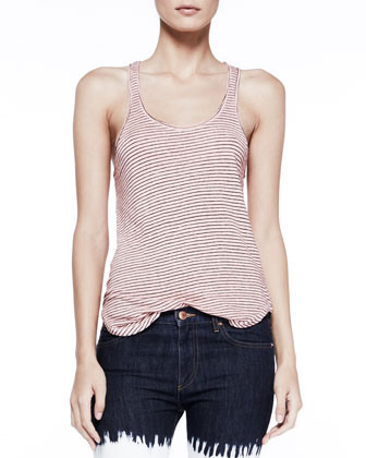 Flavien Striped Racerback Tank, Light Pink
