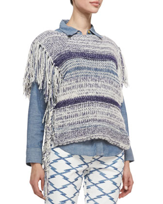 Peyton Striped Knit Fringe Poncho