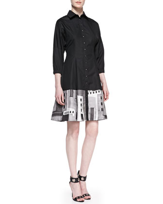 Facade-Hem Poplin Shirtdress