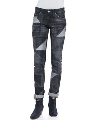 Drapey Patchwork Skinny Jeans