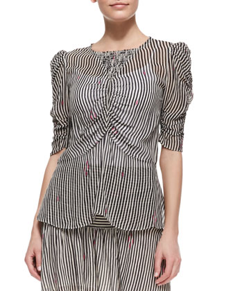 Caja Printed Ruched-Sleeve Top