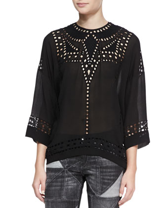 Ethan Voile Eyelet Top