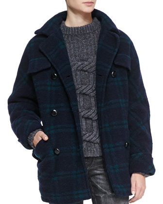 Gael Double-Breasted Plaid Coat
